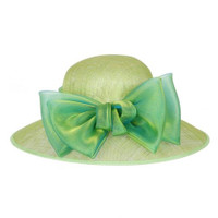 Apple Green Organza Bow Sinamay Baby Shower Hat