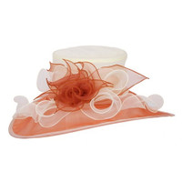 Brown and Cream Easy Going Packable Organza Kentucky Derby Hat