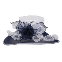 Navy and White Easy Going Packable Organza Kentucky Derby Hat