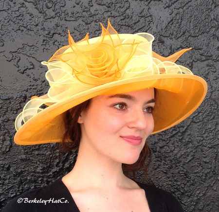 Yellow and Orange Easy Going Packable Organza Kentucky Derby Hat on model