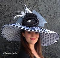 White Large Brim Spectator Polkadot Derby Hat.