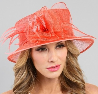Garden Party Derby Hat in Coral on Model.