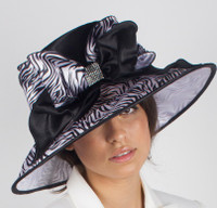 Black and White Zebra Print Fabric Derby Hat.