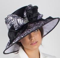 Black and White Zebra Print Fabric Derby Hat.