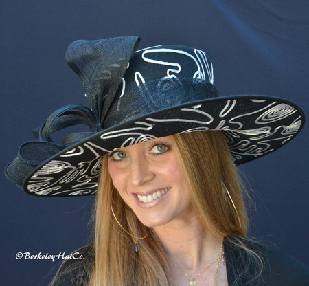 Black and White Triple Crown Derby Hat Pictured Front.