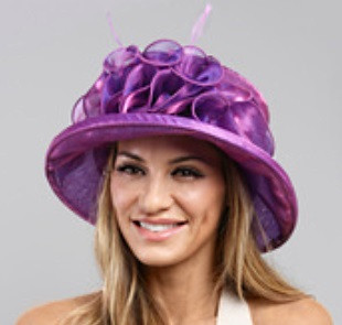 Packable Organza Small Brim Dress Hat in Lavender on Model.