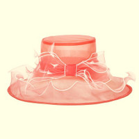 Perfectly Packable Kentucky Derby Party Hat  in Peach with White Trim.