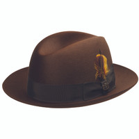 Biltmore's Chicago brown fur felt center crease fedora