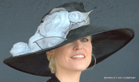 Black and Grey Kentucky Hat with Chiffon Roses