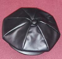 Black Leather 8 Quarter Cap