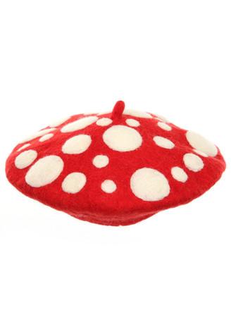 red and white mushroom beret