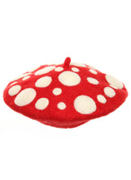 red and white mushroom beret