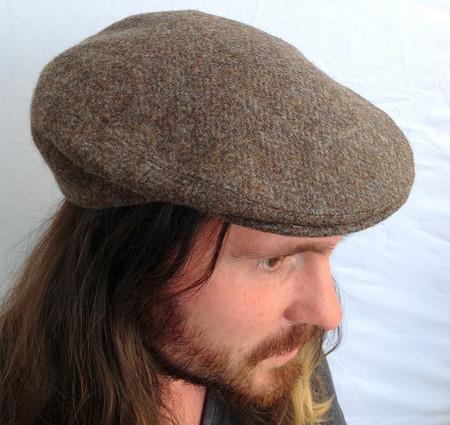 Irish Ivy Cap in Grey/Brown Herringbone Donegal Tweed (IR79)