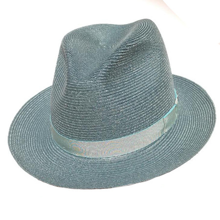 """Stetson """"Easy A"""" Hemp Fedora in Turquoise Blue."""