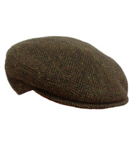 IR84 irish herringbone flat cap front view