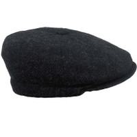 IR85 charcoal donegal tweed cap side