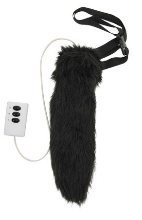 button activated moving black cat tail