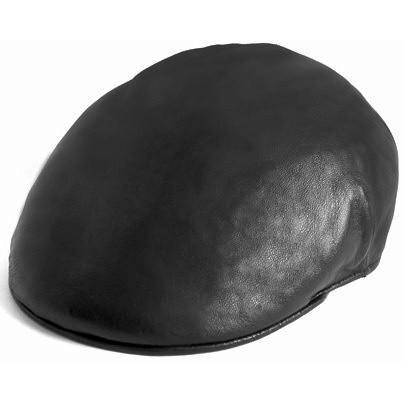 Black Leather Italian Ascot Cap