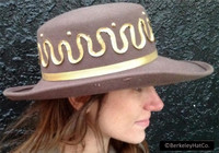 Vintage Sale Hat Taupe and Gold