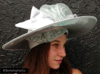 Kentucky Derby Church Hat Silver Slanted Wide Brim Sequin Satin Flower
