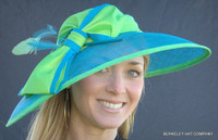 Kentucky Derby Hat Sinamay Straw Turquoise and Green Two-Tone with Bow
