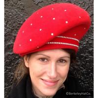 Vintage Red Slanted Beret Style Hat in Fur Felt with Swarovski Crystals