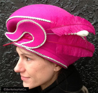 Vintage Formal Church Hat Fur Felt Fuchsia Pink Beret Style Feathers with Pin