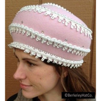 Vintage Jack McConnell Formal Hat Pink Wool Felt Bubble-Cloche Faux Pearl Trim