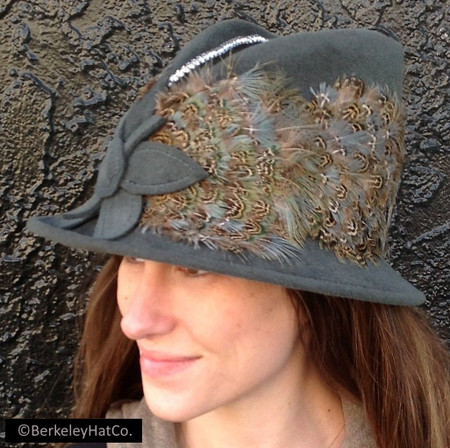 Vintage Women's Church Hat Grey Fur Felt Feathered with Rhinestone Trim Felt Flower