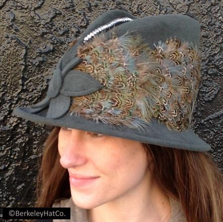 Vintage Women's Church Hat Grey Fur Felt Feathered with Rhinestone Trim Felt Flower