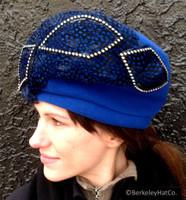 Women's Beret Style Hat Royal Blue Wool Felt Mr.John Feathers Vintage Unused