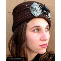 Women's Church Hat Dark Brown Satin Covered Felt Pillbox Silver Beads Classy