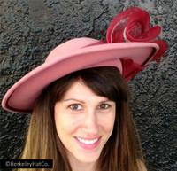 Women's Church Hat Mauve Pink Burgundy Red Felt Horsehair Formal Silver Trim