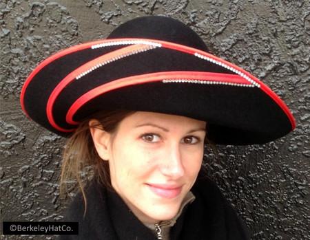 0198d0951 Women's Formal Church Hat Fur Felt Black Red Wide Brim Rhinestones Vintage
