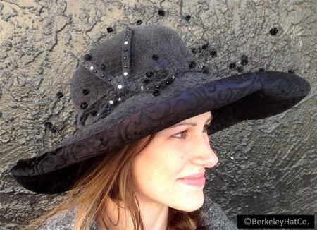 f4cea28ac Womens Fur Felt Grey Church Hat Wide Brim Black Velvet B Michael Classy
