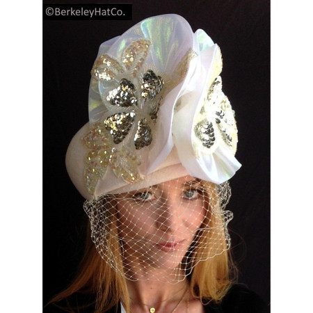 Women's Off-White Felt Dress Hat with Veil & Sequins Formal Church Wedding