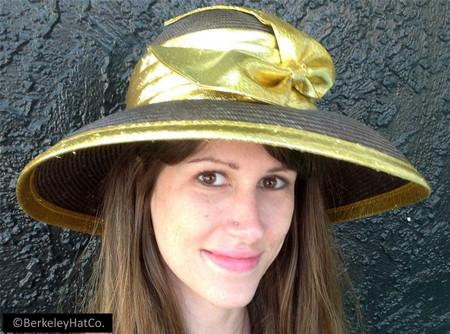 Women's Summer Brown Straw Church Dress Hat with Metallic Gold Bow & Trim