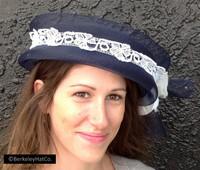 Year-Round Church Hat Pill Box Navy Blue Horsehair White Lace Trim Ribbon