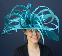 Teal Winner's Circle Feathered Derby Hat - Free US Express Shipping