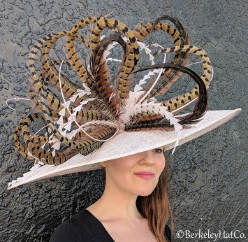 Blush Winner's Circle Feathered Derby Hat