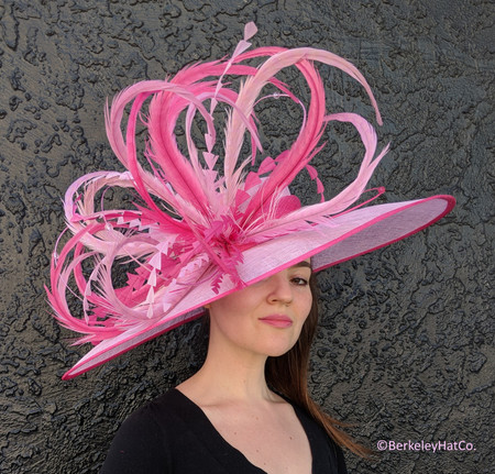Pink Two Tone Winner's Circle Feathered Derby Hat