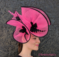 Hot Pink and Black Pleated Horsehair Fascinator
