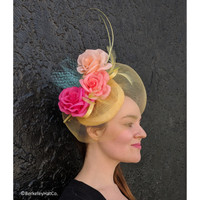 Flowered Sinamay Fascinator