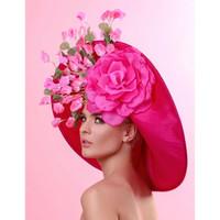 Fuchsia Large Brim Derby Hat, Alyssa by Arturo Rios