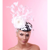 Sophia Black and White Fascinator by Arturo Rios