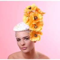 Stella Fascinator by Arturo Rios in White, Yellow and Grey