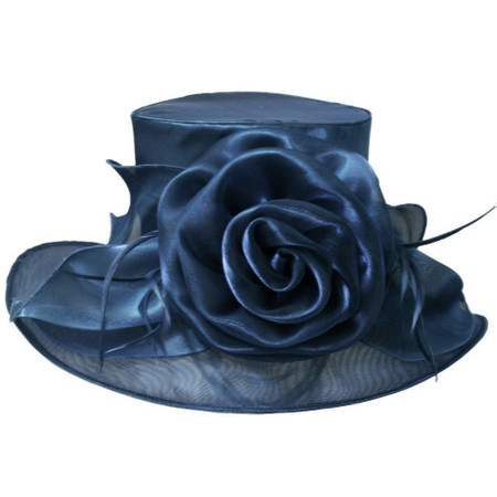 Navy Blue Easy Travelling Kentucky Derby Hat