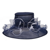Perfectly Packable Derby Party Hat  in Navy with White Trim.