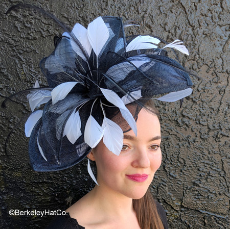 Navy and White Royal Feathered Fascinator