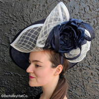 Navy and White Spectator Dish Fascinator worn forwards